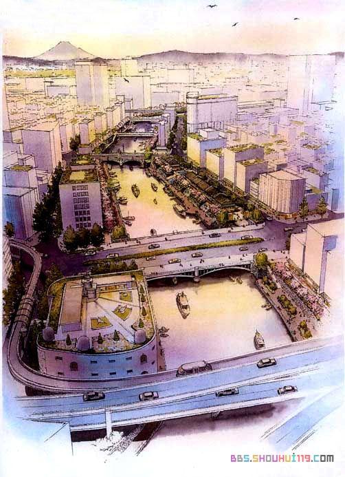 俯视建筑手绘图