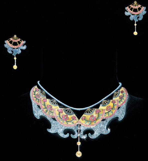 姚明召的珠宝设计师艺廊; 珠宝手绘图; 首饰三件套设计图