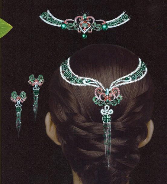 珠宝首饰套装手绘图