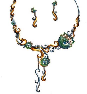 珠宝手绘图欣赏12_姚明召的珠宝设计师艺廊