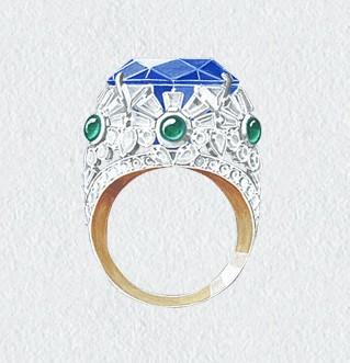 梵克雅宝新品系列设计图_方红军珠宝设计工作室; 梵克雅宝最新手绘图