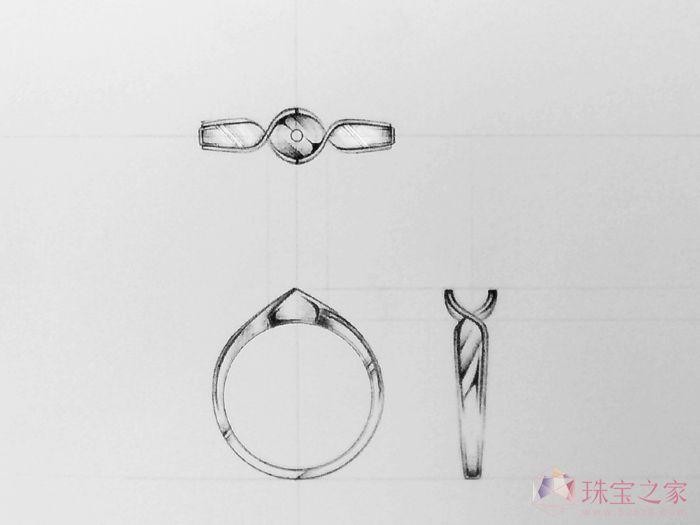 戒指设计图手稿素描展示
